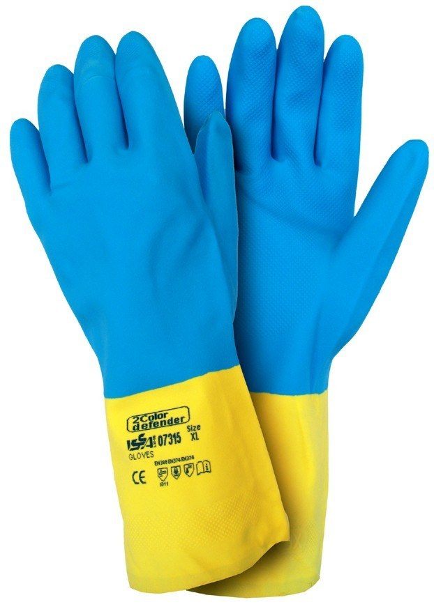 2 COLOR DEFENDER- rękawice chroniące przed sustancjami żrącymi